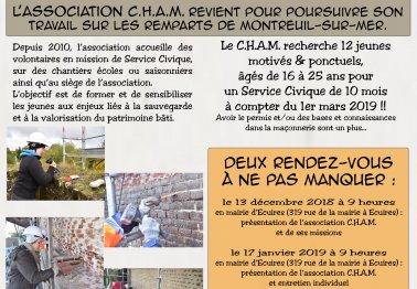 Recrutement de services civiques pour le chantier des remparts de Montreuil-sur-Mer